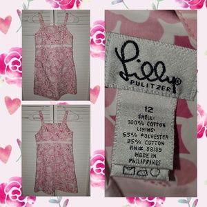 Lilly Pulitzer Girls Pink White Summer Dress 12
